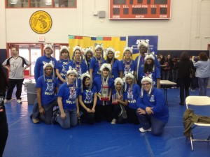 Team 3568, the ICE Wolves, pose with their trophies after winning the NJ FTC State Championship!