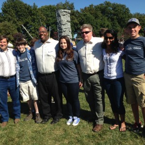 Mayor Womack (left) and other town council members pose with Raider Robotix team members Kevin, Sarah, Keertana, and Jason at North Brunswick's Heritage Day Festival.