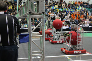 Our elimination alliance at the Lenape-Senece District Event. Photo courtesy of Team 1647.